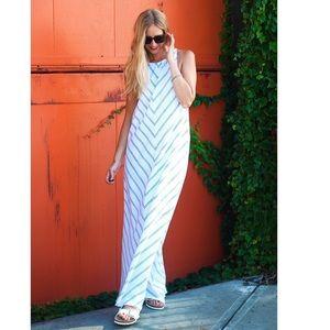 JCrew Chevron print linen maxi dress